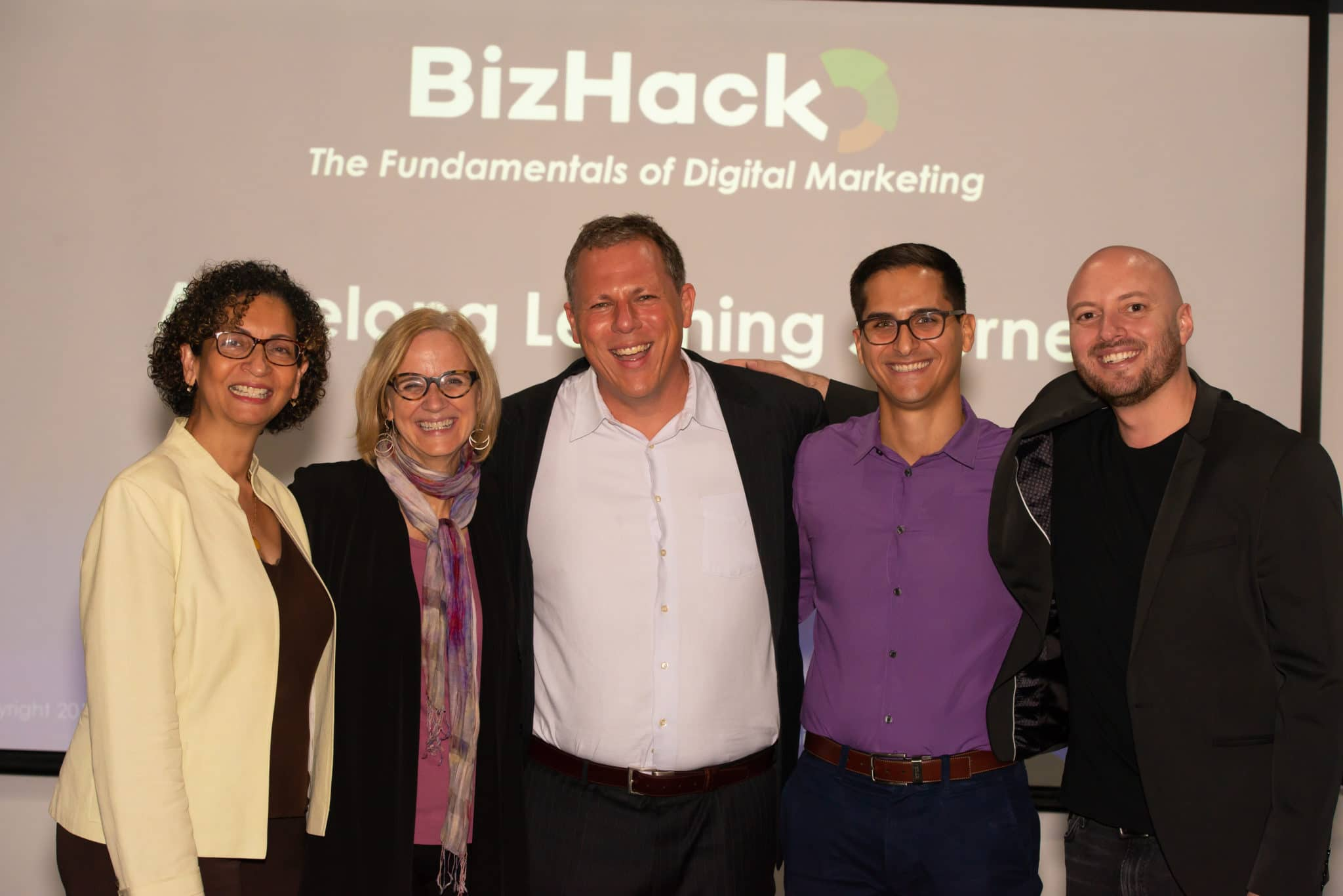 The BizHack Academy Teaching Team of Joy Schaaffe, Eileen Higgins, Dan Grech, Jorge H Gonzalez, and Giovanni Insignares are expert digital marketers who teach businesses how to find new customers using online advertising and social media marketing